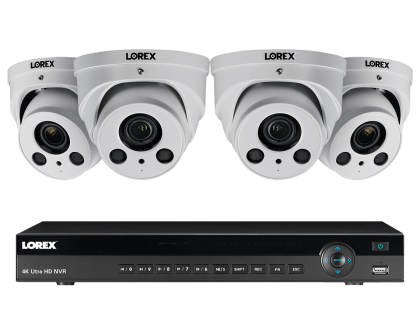 Lorex 4K Ultra HD IP NVR Security Camera System with 4-IP Cameras (4KHDIP822NWW)