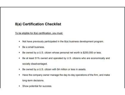 8A Certification Checklist