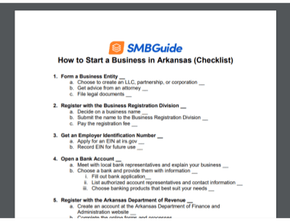 How To Start A Business In Arkansas Checklist