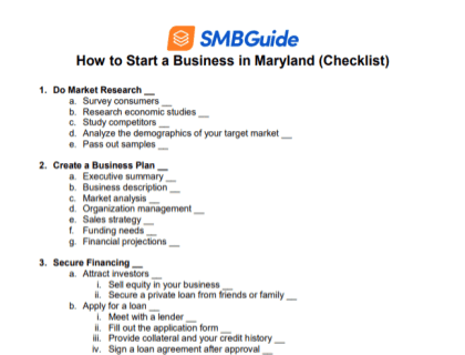 How to Start a Business in Maryland Checklist