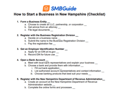 How to Start a Business in New Hampshire Checklist