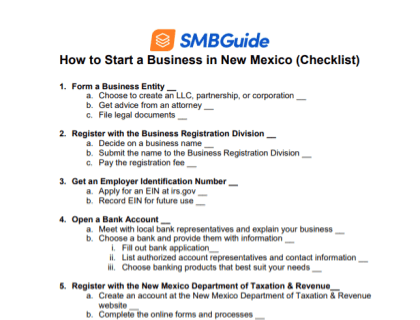 How to Start a Business in New Mexico Checklist