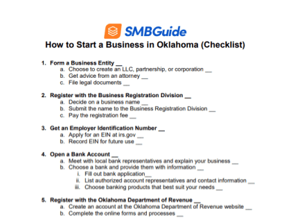How to Start a Business in Oklahoma Checklist
