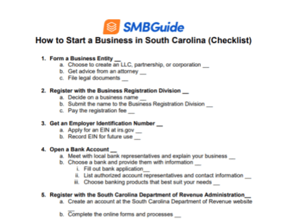 How to Start a Business in South Carolina Checklist