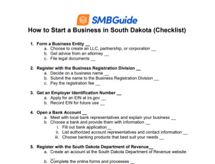 How to Start a Business in South Dakota Checklist