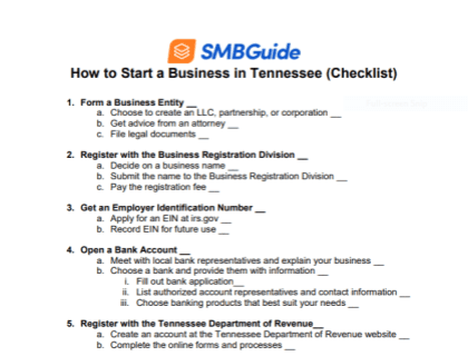 How to Start a Business in Tennessee Checklist