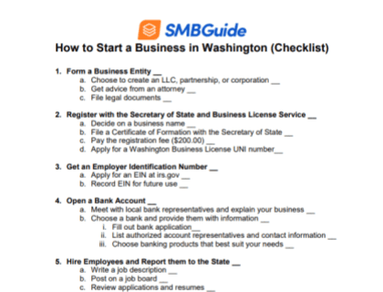 How to Start a Business in Washington Checklist