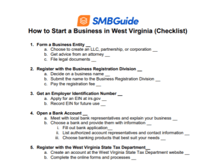 How to Start a Business in West Virginia Checklist