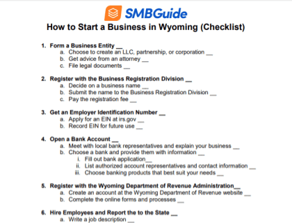 How to Start a Business in Wyoming Checklist