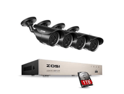 ZOSI 8CH 1080P CCTV DVR System and 4X 1080P 120ft Night Vision Bullet Security Camera