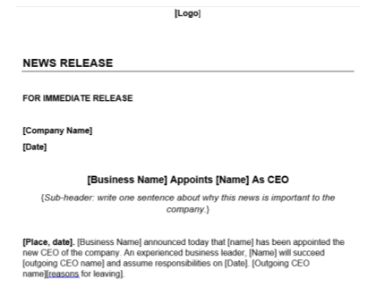 Ceo Announcement Press Release Template Download