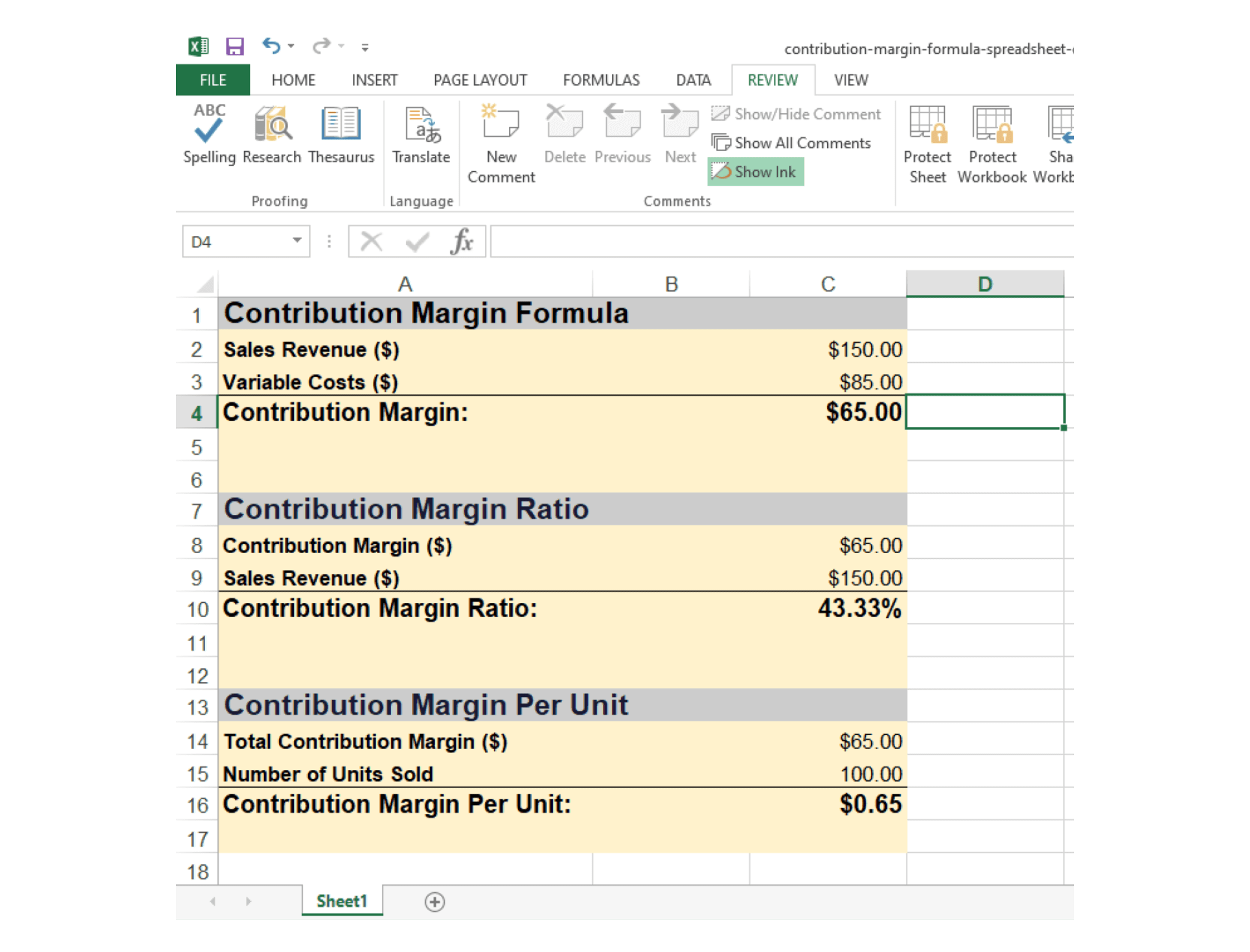 Contribution Margin Formula Spreadsheet 20190819 1