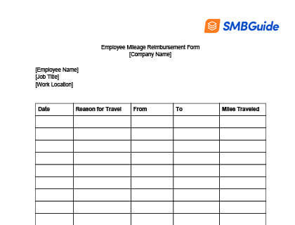 Employee Mileage Reimbursement Form