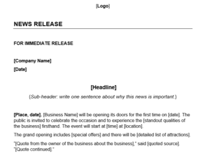 Grand Opening Press Release Template Download