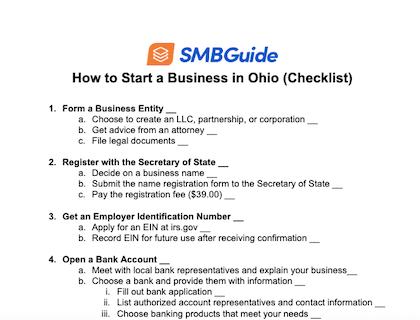 How To Start A Business In Ohio Checklist Download