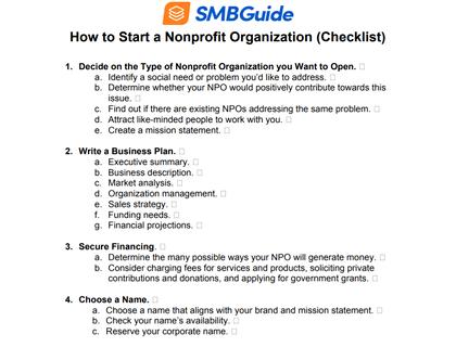 How To Start A Nonprofit Organization Checklist 420X320 20191217