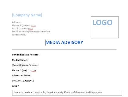 Media Advisory Template Download