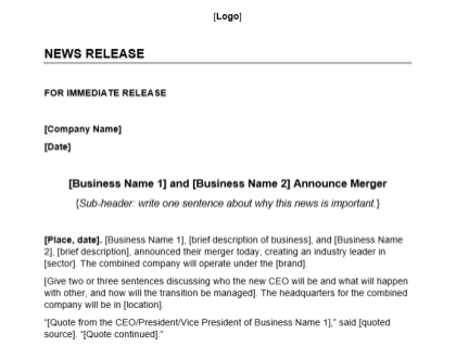 Merger Press Release Template Download
