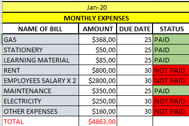 Monthly Expenses Report 20200128