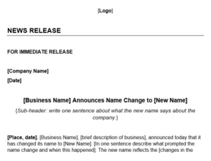 Name Change Press Release Template Download