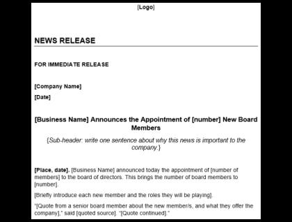 New Board Member Press Release Template Download