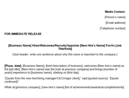 New Hire Press Release Template Download