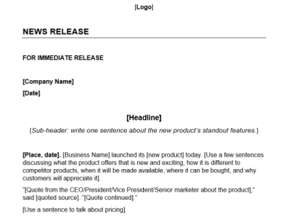 New Product Press Release Template Download
