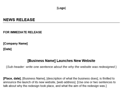 New Website Launch Press Release Template Download