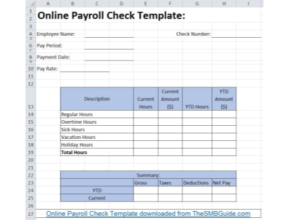 Online Payroll Check Template