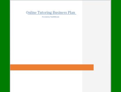 Online Tutoring Business Plan Template