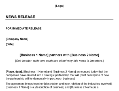 Partnership Press Release Template Download