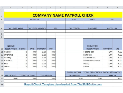 Payroll Check Pay Stub Template