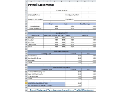 Payroll Statement Template