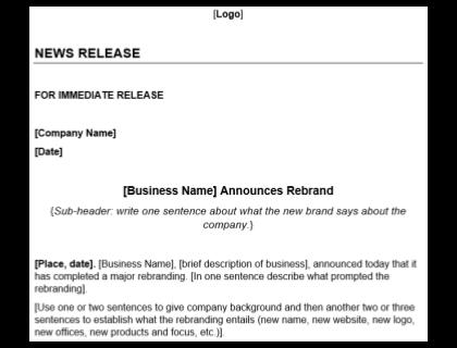 Rebranding Press Release Template Download
