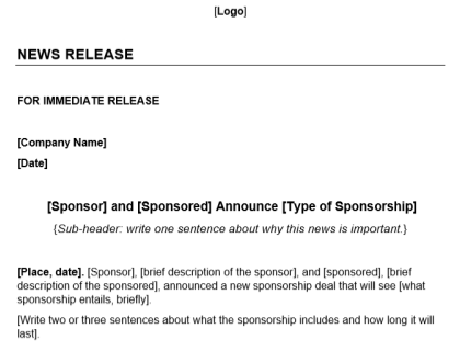 Sponsorship Press Release Template Download